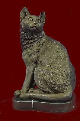 Cat Kitty Lover Collector Bronze Marble Statue Sculpture Figurine Bookend Art