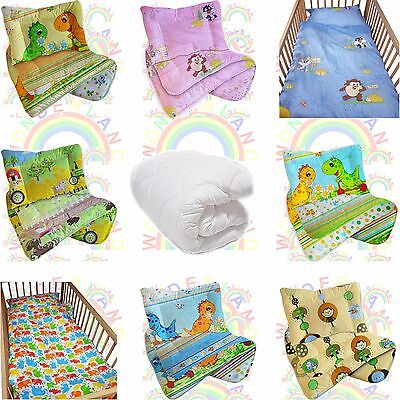 DUVET cot bedding QUILT PILLOW  set 2 PIECE baby BED FITTED SHEET 120x90 135x100
