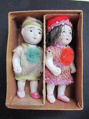 Adorable Tiny Chinese Children Porcelain Dolls In Box