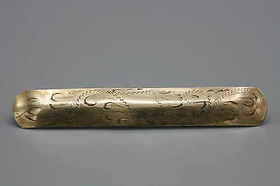Victorian Gold Plated Barrette Hair Pin Engraved Scroll Design 4 Inch Length