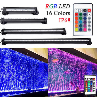 RGB LED Aquarium Fish Tank Bar Lights Submersible Underwater Air Bubble Remote
