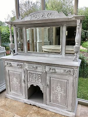 Antique Victorian Carved Hand painted Mirrored Dresser Sideboard Drinks Cabinet