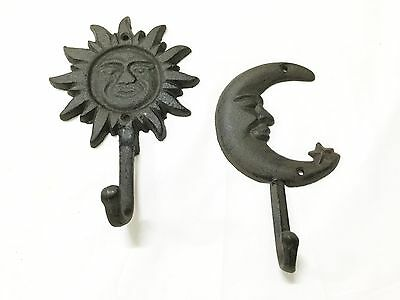 New Rustic Cast Iron Sun And Moon Hooks (1184-0633) Set Of 2