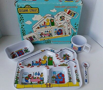 Vintage Sesame Street Kibouki 4 Piece Child's Place Setting Complete With Box