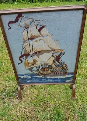 Vintage tapestry fire screen guard