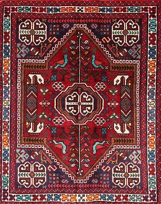 Excellent Tribal 3x5 Shiraz Abadeh Persian area rug Oriental Carpet 4' 7 x 3' 2