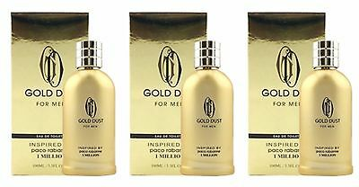 Lot of 3 Gold Dust For Men, Inspired By 1 Million By Paco Rabanne - Eau De Toile