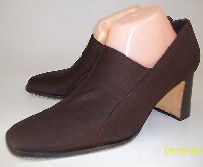 d0e33e2b8cde Nine West Womens US 10 M Brown Fabric Leather Sole Work Slip-On Pumps Heels