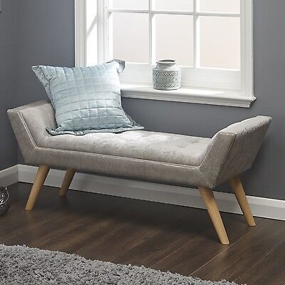 Shabby Chic Hallway Bench Furniture Bedroom Ottoman Tufted Seat Wooden Legs New
