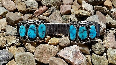 Native American Silver and Natural Turquoise Watch Band Signed Jean Dixon