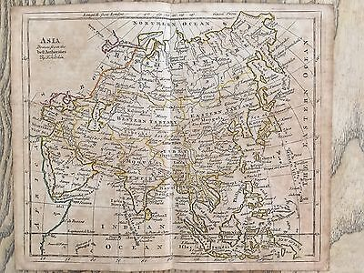 1785 Asia By Thomas Kitchin  Hand Coloured Map 232 Years Old Linen Backed