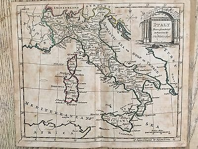 1785 Italy Map By Thomas Kitchin Hand Coloured Linen Backed 232 Years Old