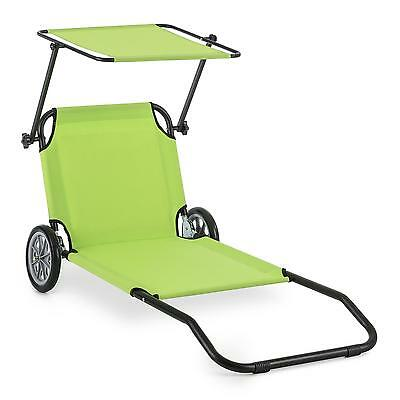 Aluminium Lounger Beach Chair Garden Recliner Weatherproof Wheels Folding Green