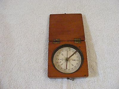 Vintage Mahogany Wood Compass Brass Hinges and Closure - Made in France