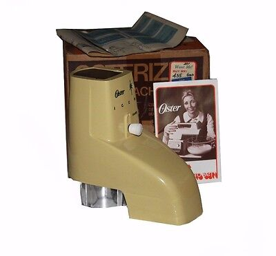 NWT! OSTERIZER Blender Ice Crusher Attachment Ivory/ Beige VINTAGE IN PACKAGING