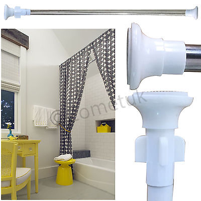 Telescopic Windows Bath Shower Curtain Rail Extendable 110-200cm Rail Rod Pole