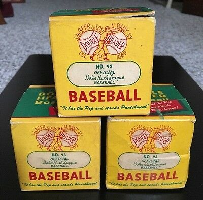 Lot Of 3 UNOPENED VINTAGE DOUBLE HEADER OFFICIAL 50's BABE RUTH BASEBALL NO.93
