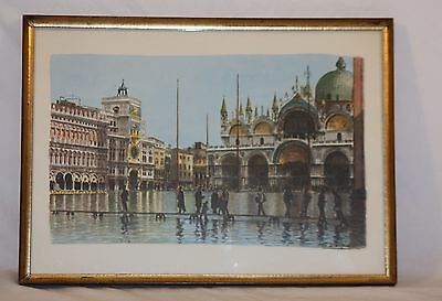 Vintage Print Of Venice Watercolor by Artist Carlo Salvini Framed