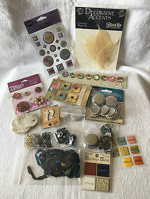 1/2# Mixed Lot Buckles Bottle Caps Bling Stickers for Altered Art Scrapbooking