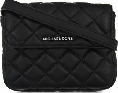MICHAEL KORS Sloan Small Quilted Leather Belt Bum Bag Black Wallet Purse