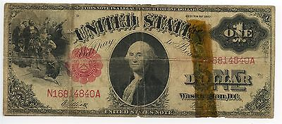 1917 $1 Legal Tender Elliot Burke US Dollar Large Size Note Taped Holes AA0514