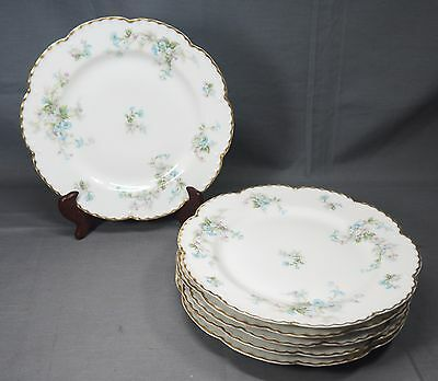 "Set of (6) Haviland France Limoges Blue Floral Gold Rim 8.75"" Plates"