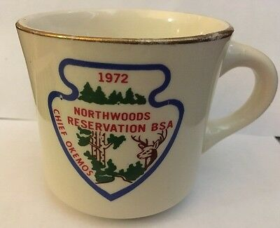 VINTAGE 1972 BSA BOY SCOUTS COFFEE MUG CUP Northwoods Reservation Chief Okemos