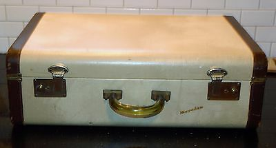 Vintage Travelux Suitcase Cream w/ Brown Leather Trim w/ Clear Bakelite Handle