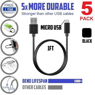 5pack Short 1ft / 12in Data Sync & charge Micro-USB Cable (UNIVERSAL!) Black