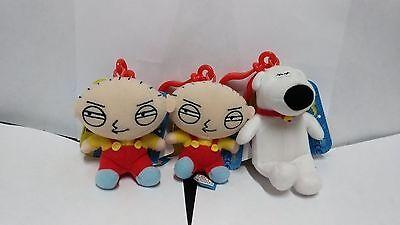 Family Guy 1 Brian and 2 Stewie Griffin Clip On Key Chain Mini Plush Toy 2012
