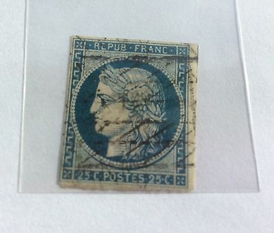 1849-50 Ceres Blue 25c Stamp Scott #5 used/cancelled