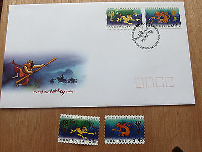CHRISTMAS IS  2004 - YEAR of the MONKEY 50c &$1.45 MNH  Stamps + FDC