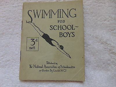 SWIMMING FOR SCHOOLBOYS PAPERBACK BOOK 1930 PRICED 3d