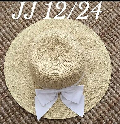 Janie And Jack Girls Straw Hat With White Bow. Size Girls 12/24 Months