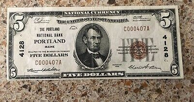 Nice Problem Free 1929 Type I Portland Maine $ 5 National Bank Note