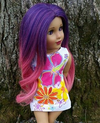 Ooak Custom American Girl Doll Wig in Wildberry Sorbet