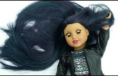 CLEARANCE! OOAK Custom Doll Wig for American Girl dolls in Oil Slick
