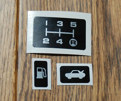 Toyota Mr2 Mk1 Gear Pattern Plate Sticker, Boot Lever & Fuel Flap Stickers Aw11