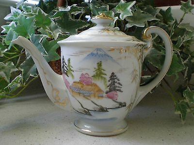 Vintage Japanese porcelain Gold Trim Kutani Teapot with Mt. Fuji hand painted