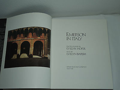 1st Edition Hardcover 1989 Emerson in Italy by Evelyn Hofer and Evelyn Barish
