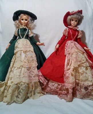 """2x Vintage 15"""" 1963 EEGEE CO Goldberger Doll Victorian Lady windup musical stand"""