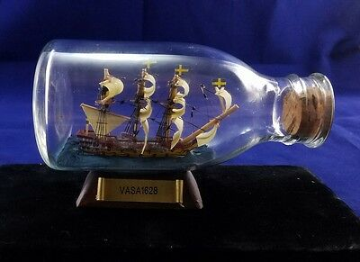 Vasa 1628 Hand Made Mini Ship In A Bottle Blown Glass Bottle w/ Name Plaque