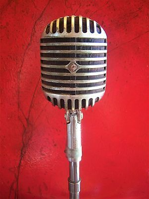 Vintage 1940s Shure Brothers 55 Fatboy microphone Elvis deco old w Atlas LO-2