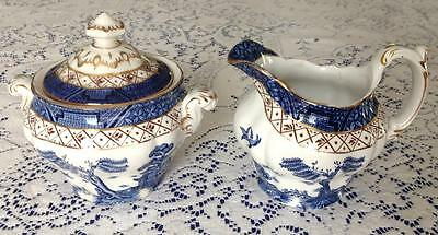 """Booth's Booths Real Old Willow sugar bowl + creamer jug - """"book mark"""" 1921-1944"""