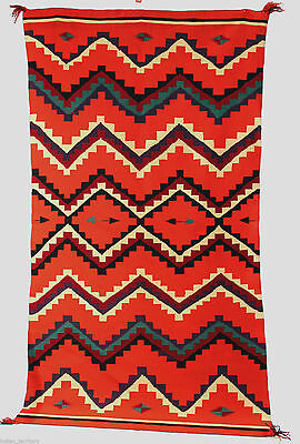 "Near Perfect c.1880s Navajo GERMANTOWN Blanket/Serape LARGE! 87""x49"" -- A ""10"""