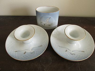 B & G Bing Grondahl Porcelain Denmark Seagull Toothpick And Two Candle Holder