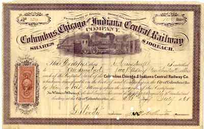 1868 Columbus Chicago & Indiana Central RW Stock Certificate