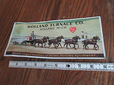 Vintage HOLLAND FURNACE CO - HOLLAND MICH -Advertising- Horse Team Pulling Wagon