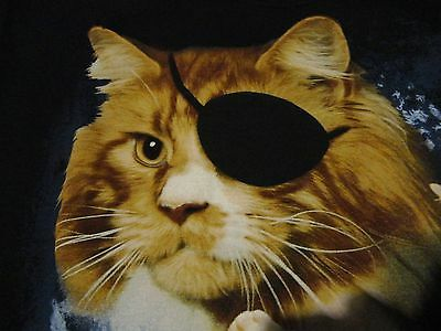 Funny KARATE CAT Martial Arts Fighter Eye Patch Black T Shirt NWT size Medium