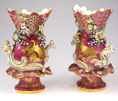 Pair of Gold Anchor Chelsea vases, claret ground with gilt birds, c. 1769